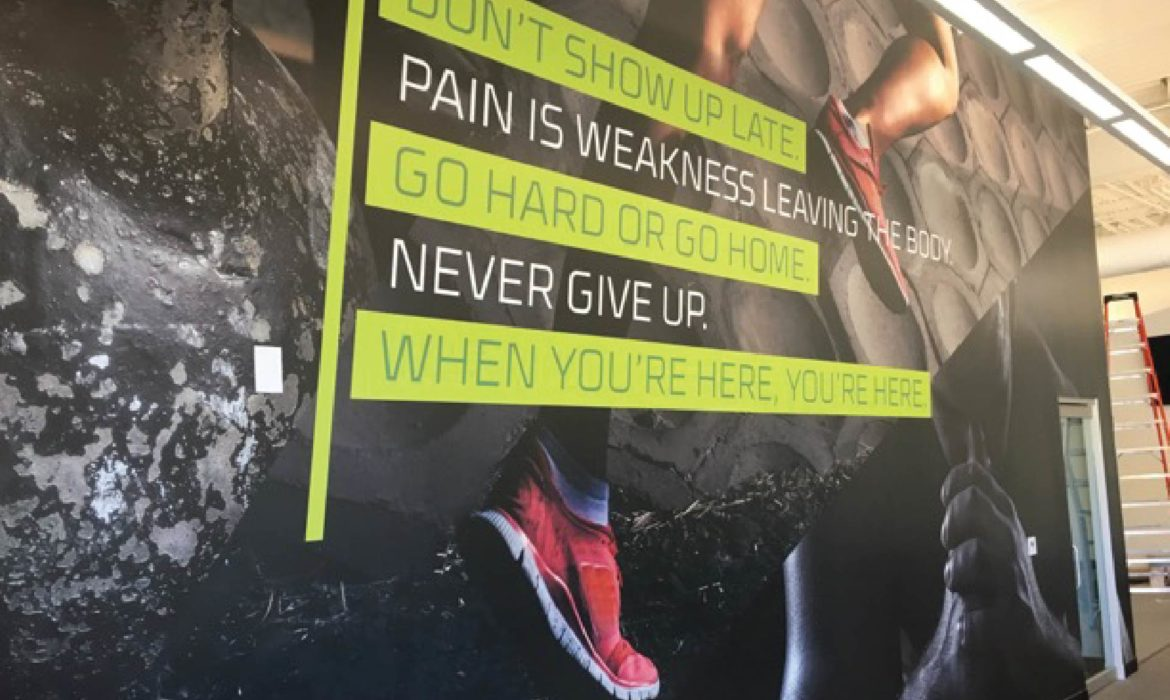 Wall art at The Village workout facility by 121 Marketing Company