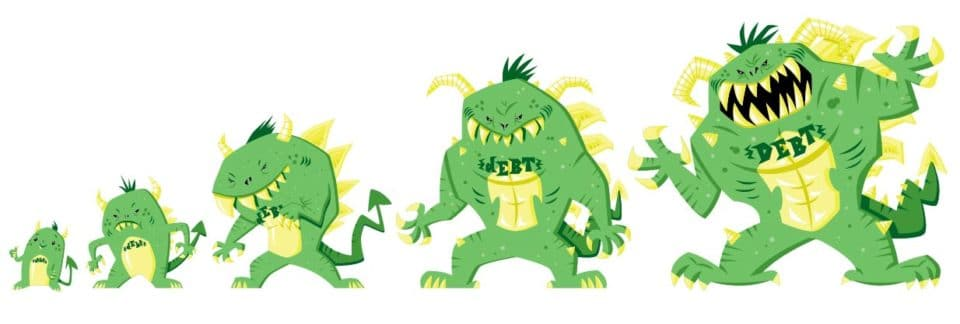 Debt Monster illustration by 121 Marketing Company